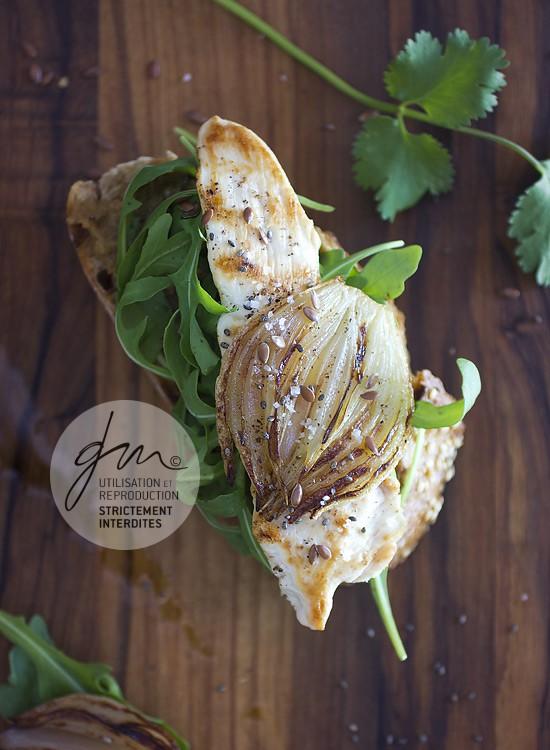 Photo recette - Bruschetta au poulet rôti et caviar d'aubergine  - blog Cook'n Focus - Delphine Guichard photographe culinaire
