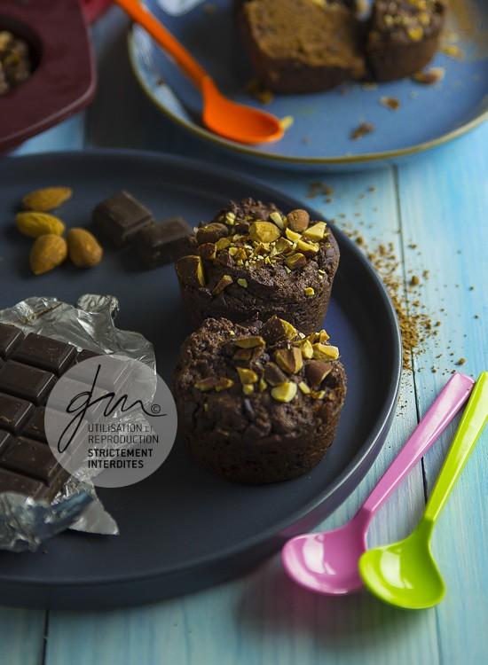 Photo recette - Muffin chocolat amande végétaliens - blog Cook'n Focus - Delphine Guichard photographe culinaire
