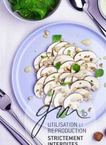 Photo recette Carpaccio de champignons sauce tahinette - Simplement bio, simplement bon - Delphine Guichard - Photographe culinaire