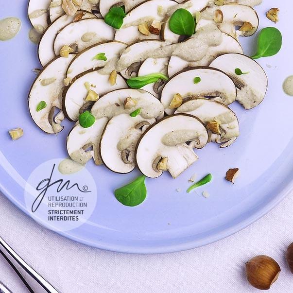 Carpaccio de champignons sauce tahinette