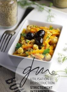 Photo recettes Salade tiède de carottes et pois chiche - Valérie Cupillard - MRS - Delphine Guichard - Photographe culinaire