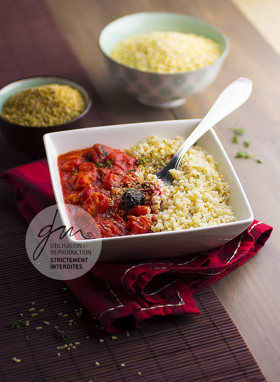 Timbale de boulgour de riz et potimarron - Réalisation de la recette de l'auteur, stylisme et photographie culinaire