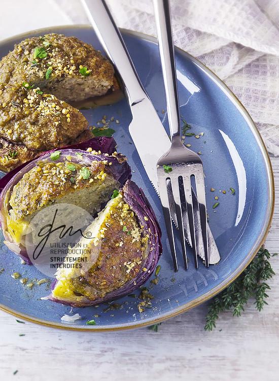 Oignons farcis aux flocons de millet - Réalisation de la recette de l'auteur, stylisme et photographie culinaire