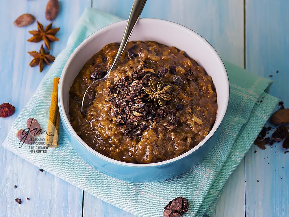 Risotto au chocolat et cranberries - Réalisation de la recette de l'auteur, stylisme et photographie culinaire