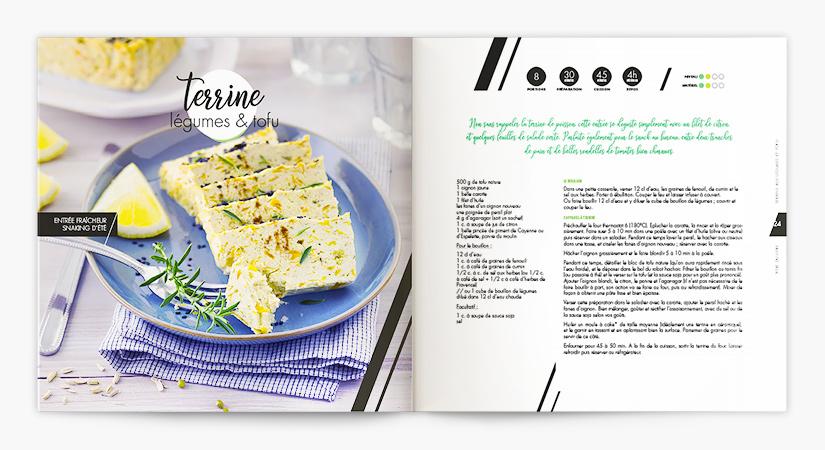 Livre de recettes en cuisine alternative : création des recettes, rédaction, création graphique et mise en page, stylisme et photographie.