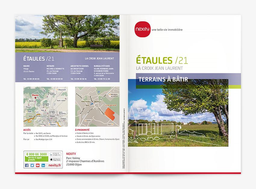 Plaquette 2 volets avec création d'un plan paysager et deux plans de situation, Nexity agence Dijon.
