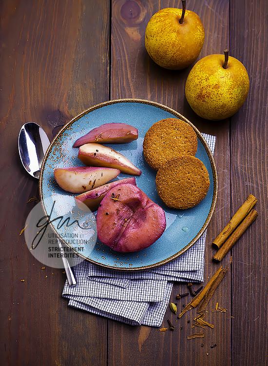 Poires aux épices douces de Sainte Hildegarde - Réalisation de la recette, stylisme et photographie
