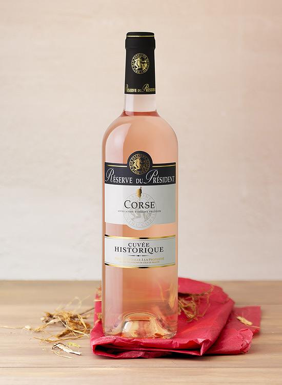Gamme Cuvée historique, AOC Corse rosé. Direction artistique et photographie